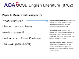 gcse english language gcse english literature a two year paper 2 modern texts and poetry what s assessed modern texts and poetry how
