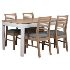 round extending oak dining table and chairs
