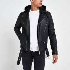 Black <b>hooded</b> faux <b>leather</b> biker <b>jacket</b> | River Island