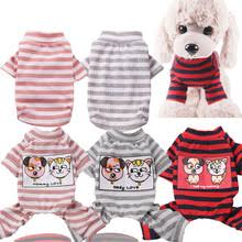 Spring Summer <b>Dog Cat</b> T-shirt Elastic Cotton <b>Pet Clothes</b> Striped ...