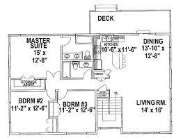 Split level house plans  House plans and Ranch house plans on    split level house plans   Three Bedroom Split Level  HWBDO     Split Level House
