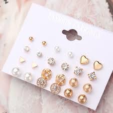 <b>12 Pairs</b>/lot <b>Punk</b> Charm Stud Earrings Set For Women Elegant ...