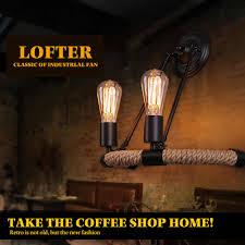 Sanyi <b>Industrial Hemp Rope</b> Wall Lamp Loft Country Style Iron <b>Retro</b> ...