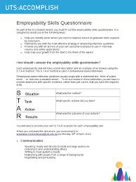 uts accomplish employability skills questionnaire skill