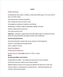 sample nanny resume template     free documents download in pdf  wordnanny resume format