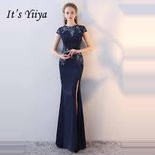 It's YiiYa <b>Evening</b> Dress 2019 Navy Blue Tassel Fashion O neck ...