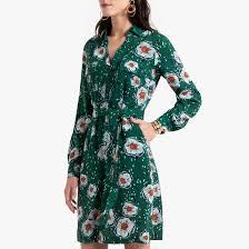 <b>Платье струящееся</b> с цветочным принтом рисунок/зеленый фон ...