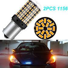 <b>2PCS</b> Amber 12V 18W LED <b>1156 144SMD BAU15S</b> PY21W 3000K ...