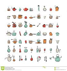 kitchen utensil: kitchen utensils characters sketch drawing icons royalty free stock photos