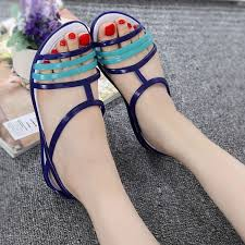 Plastic sandals female <b>summer wild flat</b> student crystal jelly shoes ...