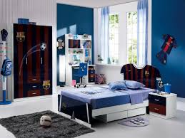 cool twin beds ideas for children boy bedroom with barcelona football themed decors and light blue awesome kids boy bedroom furniture ideas