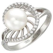 Эстет <b>Кольцо с бриллиантами</b>, <b>жемчугом</b> из белого золота ...