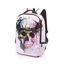 New Fashion 3D <b>Rose Skull</b> Mexican Printing Backpack Male ...