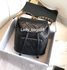 Luxury Top Quality Chain Plaid Women Backpack <b>Genuine Leather</b> ...