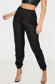 <b>crocodile pattern PU</b> fabric micro-elastic high waist stylish trouser ...