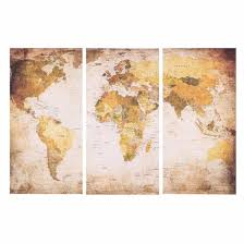 Shop 35 * 70cm <b>HD Printed</b> 3 Panel Frameless World Map Canvas ...