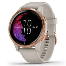 Garmin Venu GPS Smart Watch in Rose Gold <b>Stainless Steel Bezel</b> ...