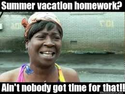 Meme Maker - Summer vacation homework? Ain't nobody got time for ... via Relatably.com