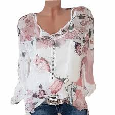 <b>Women Shirts</b> Autumn Casual Slash Neck <b>Boho Chiffon Blouse</b> ...