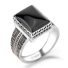 Black Agate Ring for Men <b>925 Sterling Silver Geometric</b> Rectangle ...