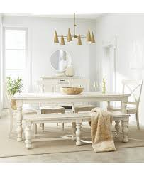 Furniture Aberdeen Worn <b>White</b> Expandable Dining Furniture, <b>6</b>-<b>Pc</b> ...
