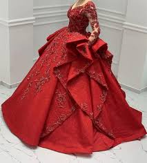 <b>Red Luxury Arabic</b> Gothic Wedding Dresses Long Sleeve Ball Gown ...