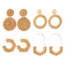 Szory Handmade Rattan Earrings for Women Trendy ... - Amazon.com