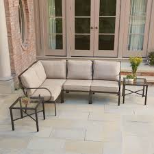 Granbury 6Piece Metal Outdoor Sectional With Fossil Cushions  E