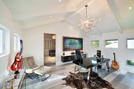wide plank flooring in home office contemporary with cathedral ceiling animal hide rug animal hide rugs home office