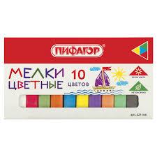 Купить <b>Мел цветной ПИФАГОР</b>, набор <b>10 шт</b>., квадратный ...
