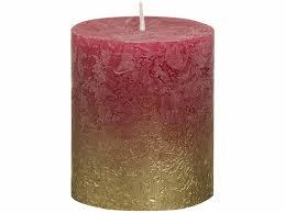 Декоративная <b>свеча Bolsius Rustic</b> столбик бордовая 8х6.8 см ...
