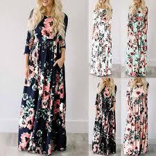 <b>2019 Summer</b> Long Dress Floral Print <b>Boho</b> Beach Dress Tunic ...