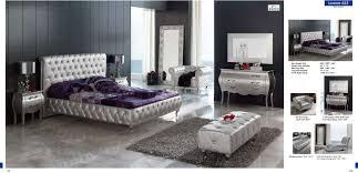 Mirrored Furniture Bedroom Sets Lorena Bedroom Set Silver Bed Mirror And 2 Nightstands