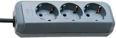<b>Eco</b>-<b>Line</b> extension <b>socket 3</b>-way silver grey 1,5m H05VV-F 3G1,5 ...
