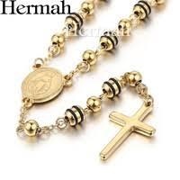 Hermah <b>Men</b> Women <b>Stainless</b> Steel Bead <b>Chain</b> Rosary Cross ...