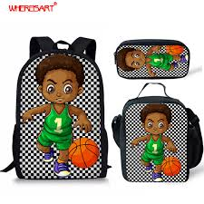 <b>WHEREISART Afro</b> Boy <b>Black Art</b> Basketball Prints Backpacks For ...