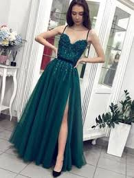 Chic Spaghetti Straps <b>Dark Green Beaded Long</b> Prom Dress ...