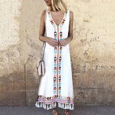 Women <b>Bohemian Style</b> V-neck Tank Dress <b>Fashion Print</b> Fringe ...