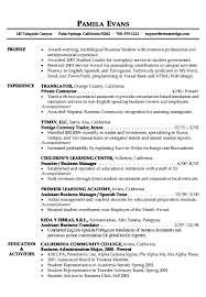 business student resume example resume template for students