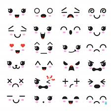 Kawaii cute faces, manga style eyes and mouths, <b>funny cartoon</b> ...