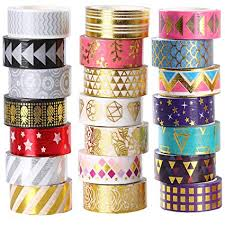Amazon.com: 21 Rolls <b>Foil Washi</b> Tape - Gold & Colored Metallic ...