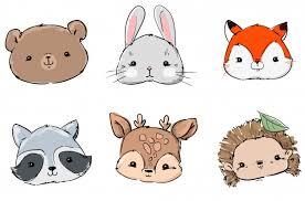 Woodland set animals, hand drawn <b>cute rabbit</b>, <b>fox</b>, <b>bear</b>, raccoon ...