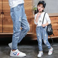 Jeans <b>Baby</b> Girl Cotton Hole <b>Pants</b> Fashion <b>Autumn 2019</b> Light Blue ...