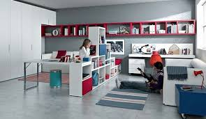 modern teen room red blue and white furniture with shelves sofa and office desk fantastic teen rooms designs blue office room design