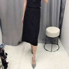 New Office Skirts Women Casual A-Line <b>Black</b> And White Striped ...