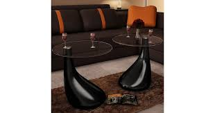 <b>Coffee Table 2 pcs</b> with Round Glass Top High Gloss Black - Matt Blatt