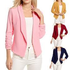 <b>Blazer Women Korean Short</b> Slim S 2XL Pink Wine Long Sleeve ...