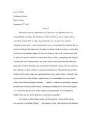 garbology intro essay  lauren nuelle freshman seminar basiyr rodney