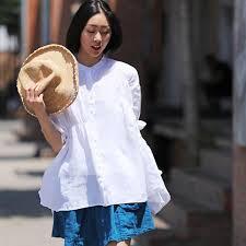<b>Casual</b> White And Black Linen <b>Shirt Women Summer Blouse</b> C2258 ...