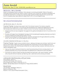 preschool teacher sample resume  socialsci copreschool teacher sample resume   preschool